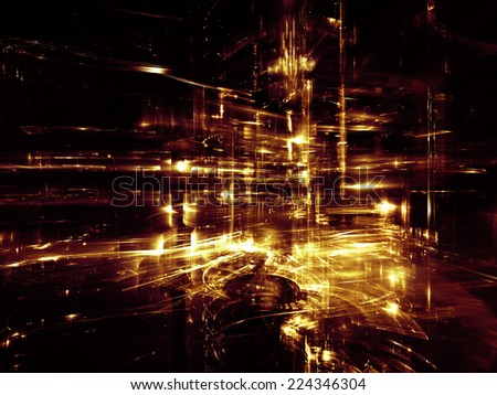 City Lights series. Design made of technological fractal textures to serve as backdrop for projects related to science, technology, design and imagination - stock photo