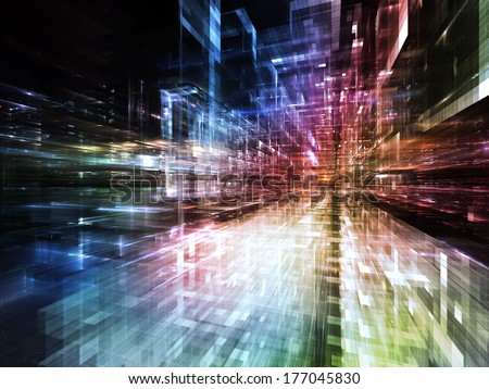 City Lights series. Visually pleasing composition of technological fractal textures to serve as  background in works on science, technology, design and imagination - stock photo
