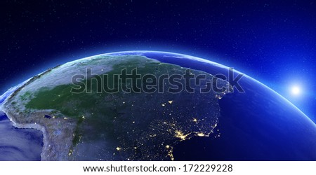 City lights - South America. Elements of this image furnished by NASA