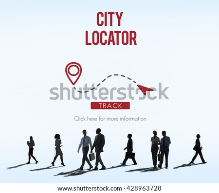 City Locator Direction Metropolis Population Concept - stock photo