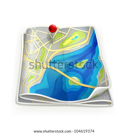 City map, bitmap copy - stock photo