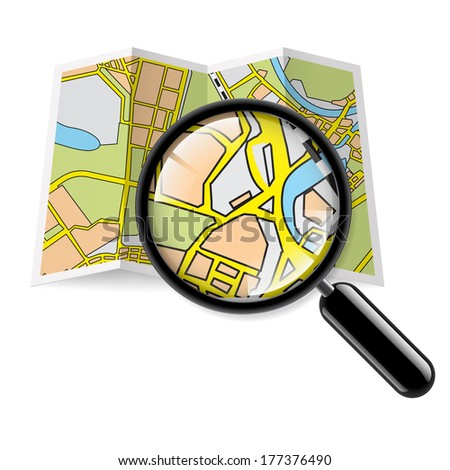 City map booklet with magnifying glass on white background - stock photo