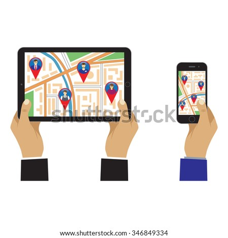 City map on the screen. Social Networks. Social Media. Global communication. - stock photo