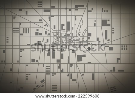 City map on the wall - stock photo