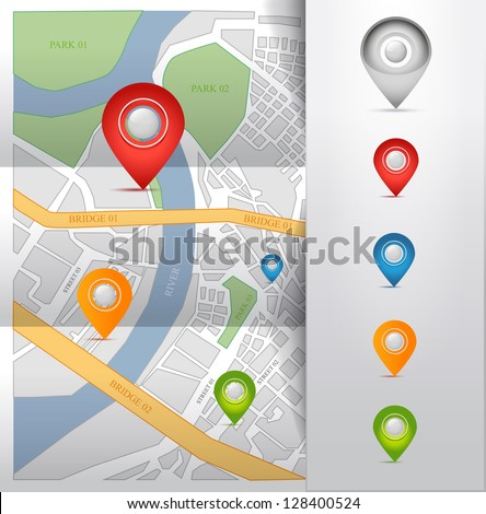 City map with gps map pointers icon illustration