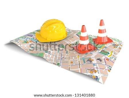 City Map with helmet and cones
