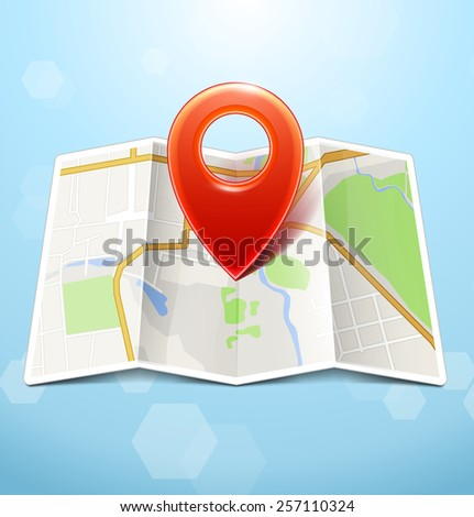 City Map With Marker - stock photo