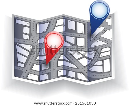 City map with navigation icons - stock photo