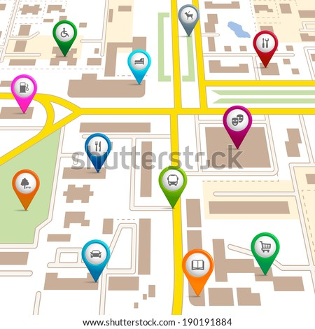 City map with pin pointers giving the location of various services such as the theatre  garage  hotel  hospital  supermarket  restaurant  park  dog walking  bus  library  and car park
