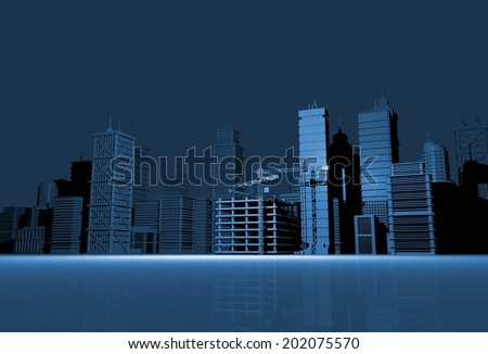 City Model 3D Illustration - City Skyline in Blue Render.