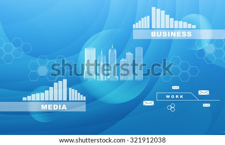 City model with graphs on abstract blue background