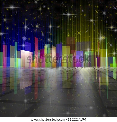 city night colourful illustration with stars - stock photo