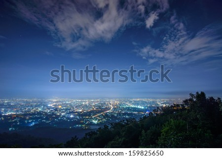 City night from the view point on top of mountain , Chiangmai ,Thailand - stock photo