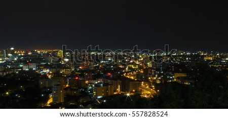 City night from the view point on top of mountain Pattaya Thailand