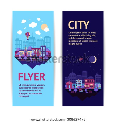City night scape night and day town architecture vertical banner set isolated  illustration - stock photo