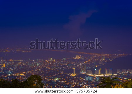 City night scene of Penang Hill, George Town, Penang, Malaysia