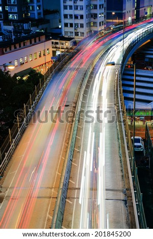 City night scene with cars light in Hong Kong, Asia. - stock photo