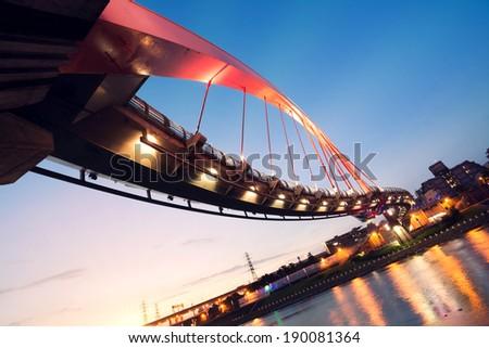 City night scenery with beautiful bridge in Taipei, Taiwan, Asia. - stock photo