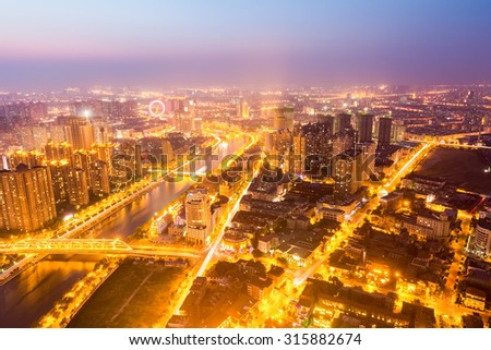 city nightfall scene of streets vein aerial view in tianjin - stock photo