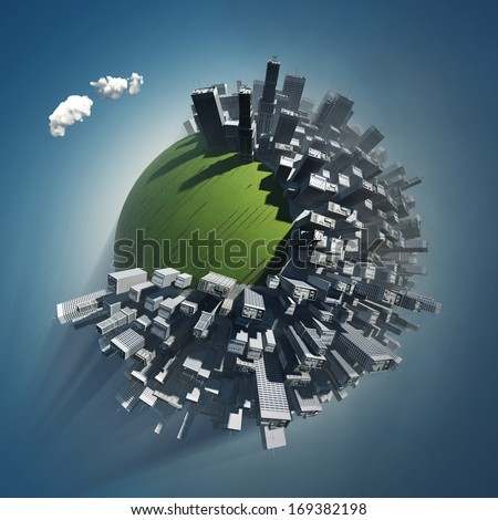 city occupies green planet - stock photo