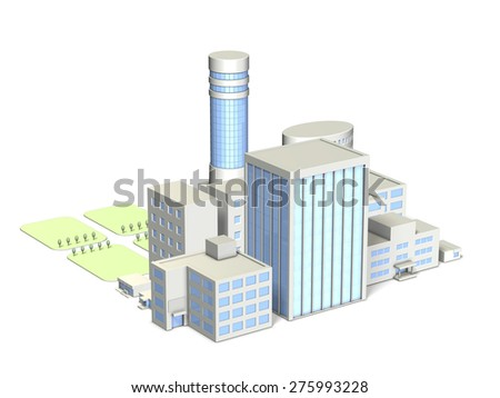 City of architectural models. isolated, computer generated image - stock photo