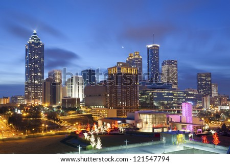 City of Atlanta. Image of the Atlanta skyline during sunrise. - stock photo