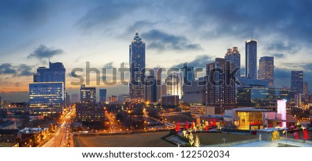 City of Atlanta. Panoramic image of the Atlanta skyline during sunrise. - stock photo