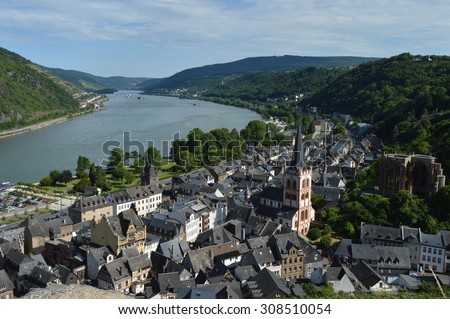 City of Bacharach with river rhine Unesco world heritage - stock photo