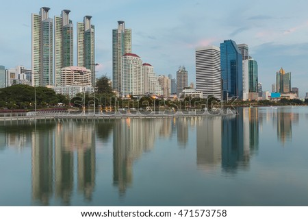 City of Bangkok Business park with water reflection after sunset