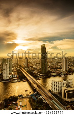 City of Bangkok with his skycrapers at sunset  - stock photo