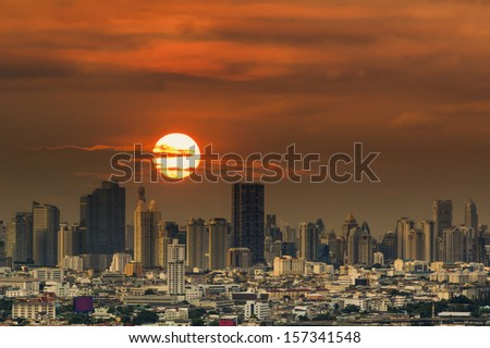 City of Bangkok with his skyscrapers at sunset