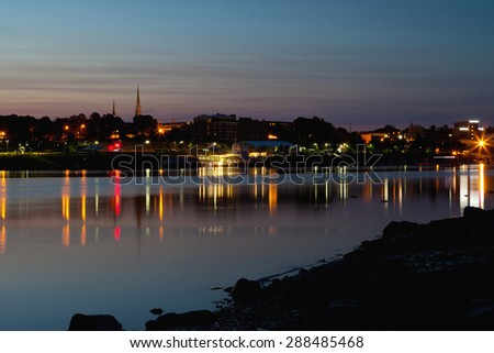 City of Bangor, Maine skyline at dusk - stock photo