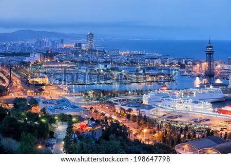 City of Barcelona at night in Catalonia, Spain. - stock photo