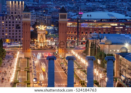 City of Barcelona at night in Catalonia, Spain, in cityscape Placa Espanya, Venetian Towers and shopping mall