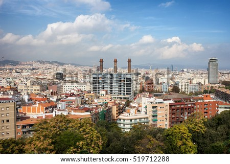 City of Barcelona cityscape, on first plan El Poble Sec neighbourhood of Sants-Montjuic district, Catalonia, Spain