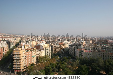 City of Barcelona, Spain as viewed from La Sagrada Familia. - stock photo
