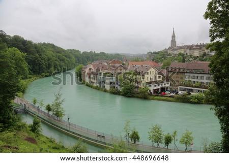 City of Bern - capital of Switzerland. General view - stock photo