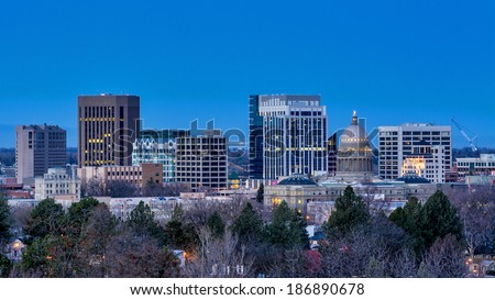 City of Boise Idaho at nigher with the city lights on - stock photo