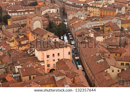 City of Bologna birds view. Rooftops. Italy. Europe. - stock photo