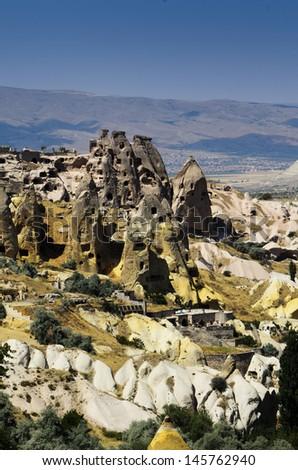 City of Cavusin in Cappadocia, Turkey - stock photo