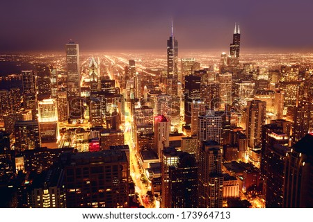 City of Chicago. Aerial view of Chicago downtown at nigh from high above.