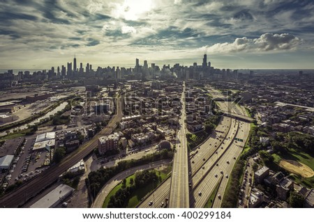 City of Chicago aerial view with roads leading to Downtown, vintage colors - stock photo