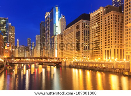 City of Chicago. Image of the Chicago downtown riverside at night. - stock photo
