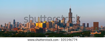 City of Chicago panorama. Panoramic aerial view of Chicago at sunset. - stock photo