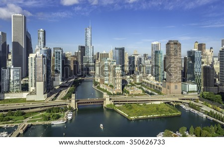 City of Chicago Skyline aerial view with Chicago River