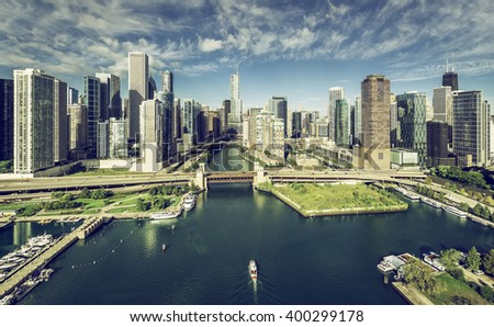 City of Chicago Skyline aerial view with Chicago River, vintage colors - stock photo