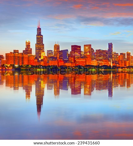 City of Chicago USA, at sunset, colorful panorama skyline of downtown with illuminated business buildings with reflections  - stock photo