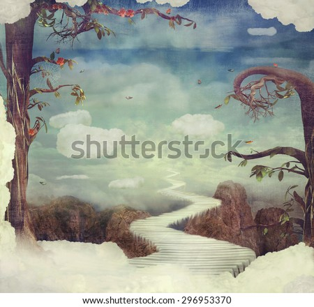 City of children on the fantastic clouds in the sky - stock photo