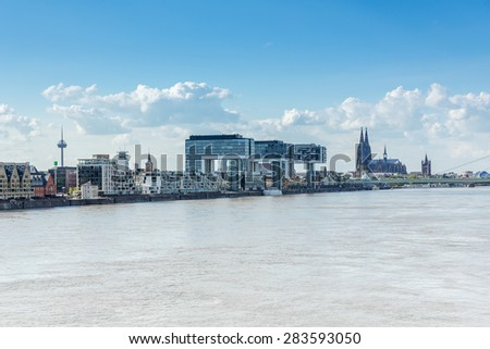 City of cologne in germany at the rhine river - stock photo