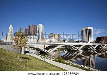 City of Columbus, Ohio with the new Rich Street Bridge in the foreground. - stock photo